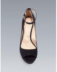 Zara | Black Wedge Peep Toe with Ankle Strap | Lyst