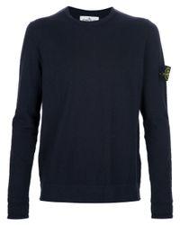 Stone Island Blue Crew Neck Sweater for men