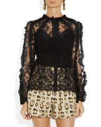 Dolce & Gabbana - Black Ruffled Lace Blouse - Lyst