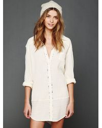 Free People White Shirt Dress