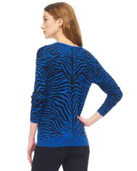 Michael Kors | Blue Zebra Print Sweater | Lyst