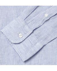 J.Crew - Blue Slimfit Striped Linen Shirt for Men - Lyst