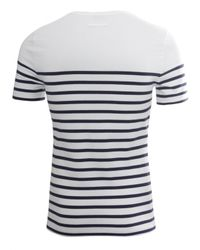 Jean Paul Gaultier White Stripe Ss Top Ecrumarine for men