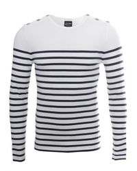 Jean Paul Gaultier Stripe Button Detail Ls Tshirt Navywhite for men