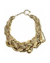 Kenneth Jay Lane | Metallic Snake-print Nugget Necklace | Lyst