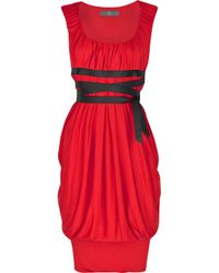 McQ Red Zip-front Draped Jersey Dress