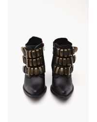 Nasty Gal - Black Triplet Strapped Boot - Lyst
