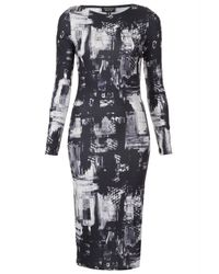TOPSHOP - Gray Cityscape Midi Bodycon Dress - Lyst