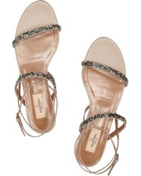Valentino | Silver Crystal-embellished Leather Sandals | Lyst