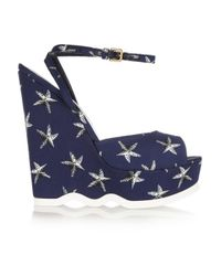 Saint Laurent | Blue Riviera Starfish-print Canvas Wedge Sandals | Lyst
