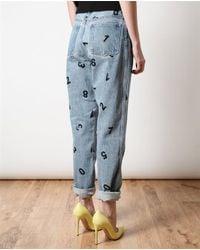 Ashish Blue Number Printed Denim Jeans