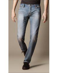 Burberry Blue Steadman Broken Twill Slim Fit Jeans for men