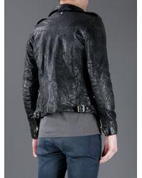 Golden Goose Deluxe Brand Black Creased Effect Leather Jacket for men