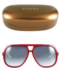 Gucci | Gray Red and White Square Aviator Sunglasses | Lyst