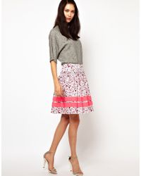 Lulu & Co | Multicolor Full Skirt In Owl Print With Neon Trim | Lyst