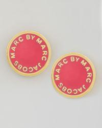Marc By Marc Jacobs Pink Enamel Logo Disc Stud Earrings