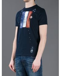 Moncler Blue Hand Painted Tshirt for men