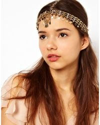 River Island - Metallic Kaballah Hand Coin and Diamante Crown Head Band - Lyst