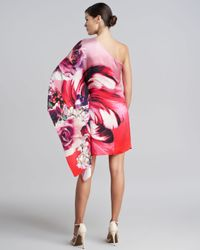 Roberto Cavalli Red One shoulder Draped Floral Dress