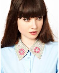 ASOS - Pink Rossetti Floral Collar Necklace - Lyst