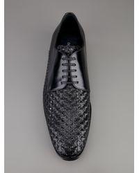 Dolce & Gabbana Black Woven Derby Shoe for men