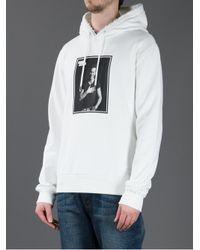 Dolce & Gabbana White Micky Rourke Print Hooded Sweater for men