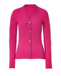 Lucien Pellat Finet | Magenta Pink V-neck Long Sleeve Cardigan | Lyst