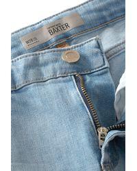 TOPSHOP Blue Moto Bleach Baxter Skinny Jeans