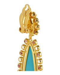 Bounkit - Blue 24karat Goldplated Turquoise and Garnet Clip Earrings - Lyst