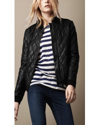 Burberry Brit Black Quilted Leather Bomber Jacket