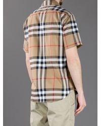 Burberry Natural Short Sleeve Check Button-down Shirt for men