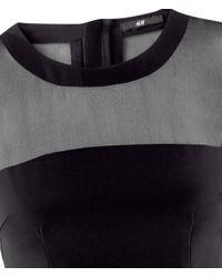 H&M | Black Chiffon Yoke Dress | Lyst