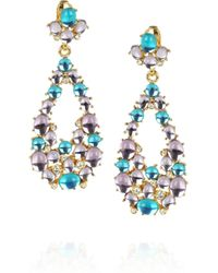 Kenneth Jay Lane - Blue Goldplated Cabochon Clip Earrings - Lyst