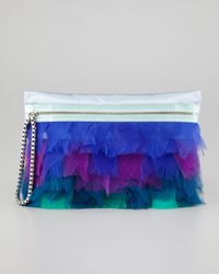 Lanvin | Metallic Large Feather Zip Clutch | Lyst