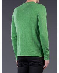 Rag & Bone Green Long Sleeve Henley for men