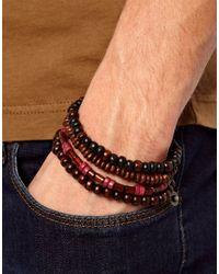 River Island Brown Beaded Bracelet Pack for men