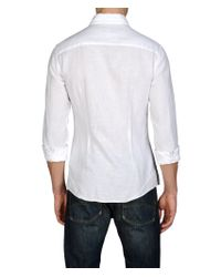 Armani Jeans White Long Sleeved Shirt in Pure Linen with Chest Pocket for men