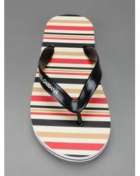 Dolce & Gabbana Multicolor Stripey Flip Flop for men