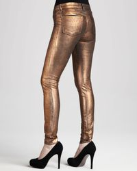 J Brand - Brown 801 Coated Metallic Bronze Skinny Jeans - Lyst