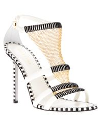 Sergio Rossi | White Sandal with Chain Detail | Lyst