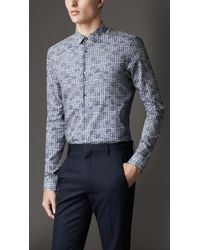 Burberry Blue Slim Fit Geometric Print Shirt for men