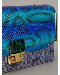 Lanvin Blue Snakeskin Print Clutch Bag