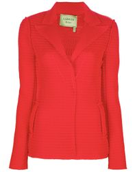 Lanvin - Red Perforated Blazer - Lyst