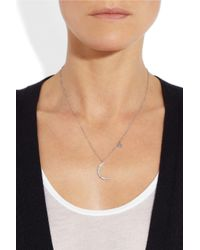 Anita Ko | 18kt White Gold Moon/star Pendant Necklace With Diamonds - Silver | Lyst