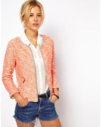 ASOS | Orange Blazer in Fluro Boucle | Lyst