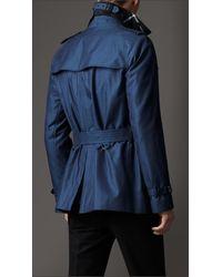 Burberry Blue Short Cotton Gabardine Trench Coat for men