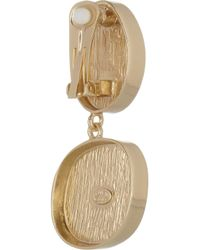 Kenneth Jay Lane Green 18 Karat Gold-Plated Clip Earrings