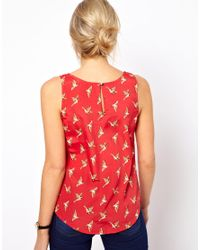 Oasis | Red Top in Bird Print | Lyst