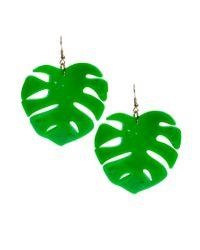Tatty Devine Green Hot House Leaf Earrings