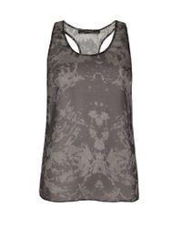 AllSaints Gray Mono Print Vest